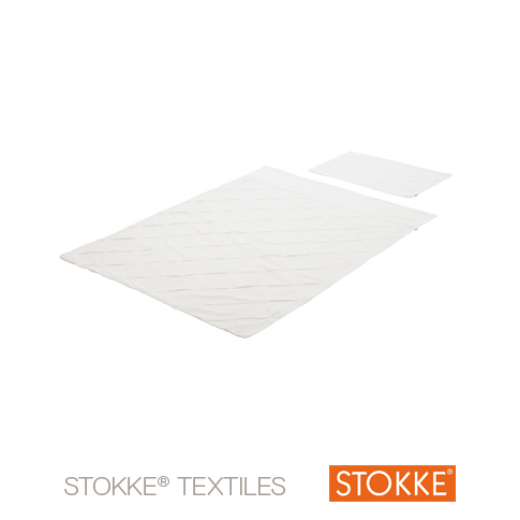 Stokke® Sleepi™ Mini patalynės komplektas 100x135cm + pagalvės užvalkalas 40x60cm, Classic WHITE