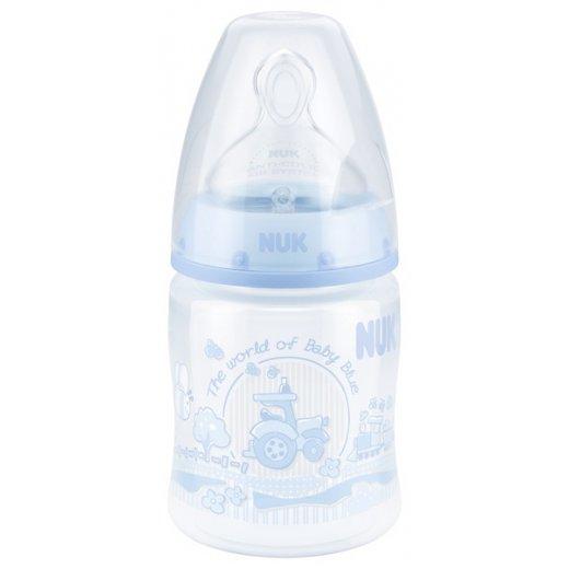 NUK FC+ Baby Blue polipropileno buteliukas 150ml su silikono žinduku