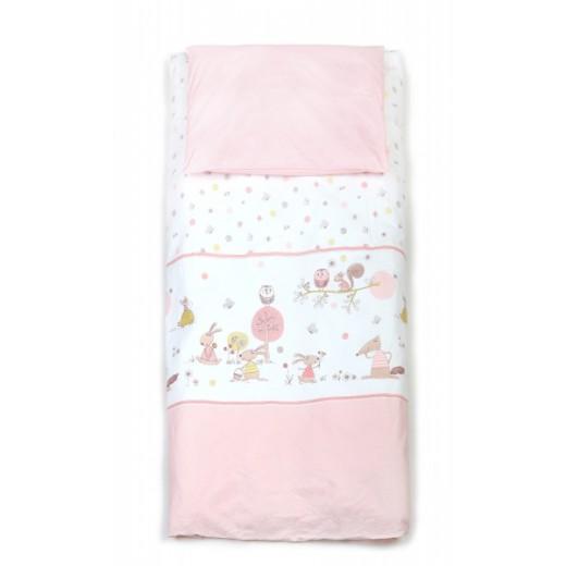 Patalynės komplektas Yappy Forest Story Soft PINK (antklodės ir pagalvės užvalkalas)