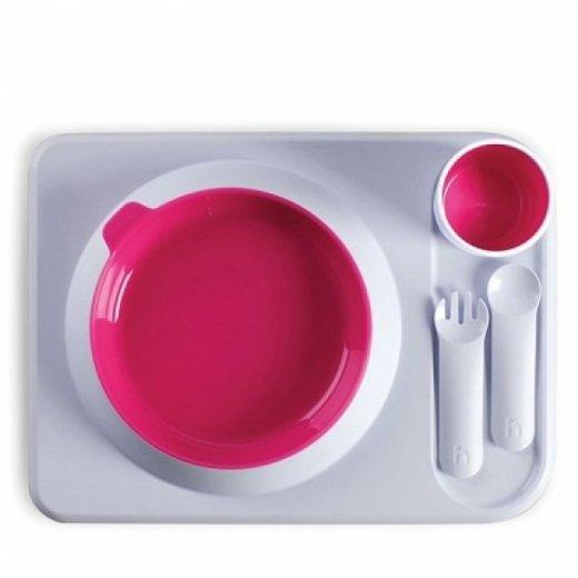 HOPPOP ATABLO pietų komplektas su lėkšte, Fuchsia