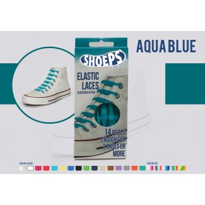 Shoeps elastingi batų raiščiai AQUA BLUE