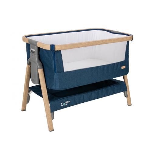 Surenkama lovytė (pristumiama prie lovos) kelioninė (su krepšiu) OAK/MIDNIGHT BLUE