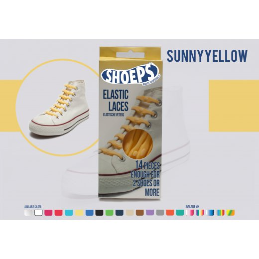 Shoeps elastingi batų raiščiai SUNNY YELLOW