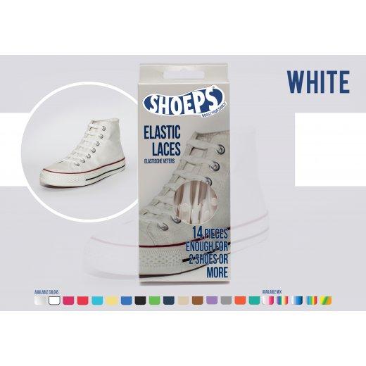 Shoeps elastingi batų raiščiai WHITE