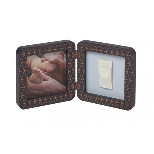 BABY ART dvigubas kvadratinis nuotraukos rėmelis su įspaudu COPPER EDITION DARK