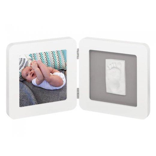 BABY ART dvigubas kvadratinis nuotraukos rėmelis su įspaudu WHITE&Grey