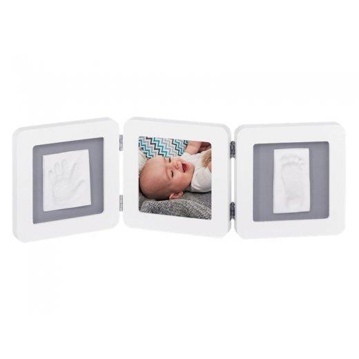 BABY ART Trigubas kvadratinis rėmelis su įspaudais (baltas/pilkas)